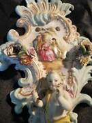 Thieme Double Arm Porcelain Wall Sconce Sculptured Winged Cherub 1800and039s Dresden