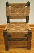 Antique Wood Childs Chair Or Salesman Sample Woven Back And Seat