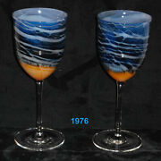 Pair Of Steven Maslach Volcano Art Glass Wine Goblets Signed 1976 And 1977 New