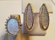 Antique Chinese Export Game Mother Of Pearl Token 14k Gold Ring And Earring Set