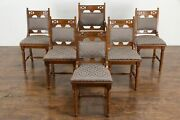 Victorian Eastlake Antique Set Of 6 Walnut Dining Chairs New Upholstery 34822
