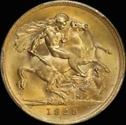 1929 Perth George V Small Head Sovereign Choice Unc Pcgs Ms64