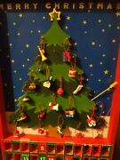 Dept 56 Merry Christmas Wooden Advent Calendar Tree W/ Missing Ornaments