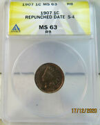 1907 Indian Cent Anacs Ms63rb Snow 4 Rpd Scarce