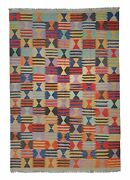 9and03991x6and03963 Sheep Wool Handwoven Multicolor Traditional Afghan Kilim Area Rug