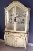 Vintage French Provincial China Cabinet Curio Curved Front 2 Pc