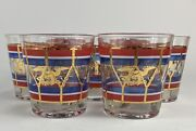7 Vintage Rare Bicentennial 1776 - 1976 Drum Eagle 4th Lowball Drinking Glasses