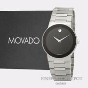 Authentic Movado Mens Safiro Silver Tone Stainless Steel Case Watch 0605803