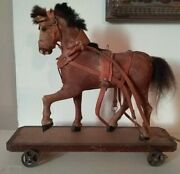 Antique German Horse Platform Pull Toy Glass Eyes Leather Hide Wrapped Sewn