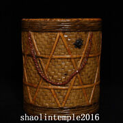 4.2rare China Antique Qing Dynasty Porcelain Bamboo Weaving Pen Container