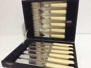 Ryals Epns Ai Made In England Cutlery Knives Forks Set Felt Boxed Rare Fancy