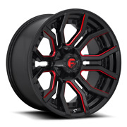 20 Fuel D712 Rage Gloss Black Red Tinted Wheels Qty 4