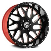 24 Xf Flow Forged Xfx-301 Gloss Black Milled W/red Inner Wheels Qty 4