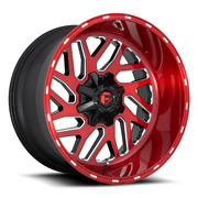 22 Fuel D691 Triton Brushed Red Milled Wheels Qty 4