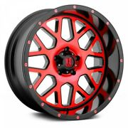20 Xd Series Xd820 Grenade Satin Black Milled W/red Clear Coat Wheels Qty 4