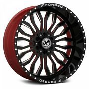 24 Xf Flow Forged Xfx-305 Gloss Black Milled W/red Inner Wheels Qty 4