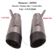 60mm Titanium Carbon Exhaust Tail Pipe Muffler Tip Escape Scooter Universal Randl