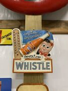 Vintage Rare Whistle Chalk Thermometer Sign Gas Oil Soda Cola