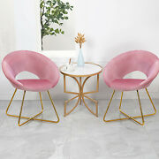 Costway 2pcs Accent Velvet Chair Dining Arm Chair Make-up Stool Metal Legs Pink