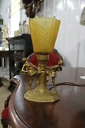 Antique Art Deco Desk Table Lamp Figural Dancing Women With Great Color Shade
