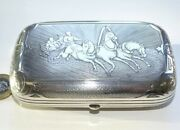 Antique Russian 84 Silver Niello Cheroot Case Horse And Chariot Style Themed.
