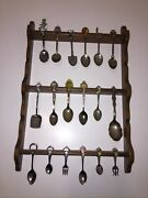 Vtg Spoon Fork Lot Of 18 States Countries Souvenir Collection W/ Wood Display
