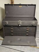 Vintage Kennedy 520 Machinist Toolbox 7 Drawer With Leather Handle Very Clean