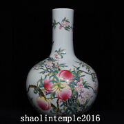 15.2 Rare China Antique Qing Dynasty Pastel Peach Pattern Celestial Bottle