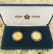 400th Anniversary Of The Mayflower Voyage Two Coin Gold Proof Set. 20xa The...