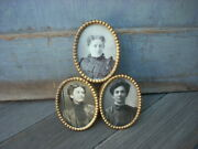 Antique Miniature Oval Photo Picture Frame Gold Plated And Lacquered Ws And Co