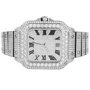 Stainless Steel Square Face Roman Dial Automatic Movement Solitaire Mens Watch