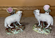 Antique Mid 1800's Staffordshire Pottery Pair Of Sheep Spill Vases