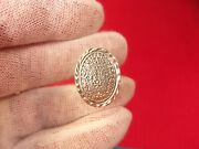 Very Unusual Older Vtg Sterling Silver Ring With Oval Aztec Sundial Type Design