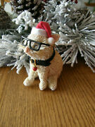 Pottery Barn Cat With Glasses And Jingle Bell Bottle Brush Christmas Ornament-new