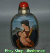 9.5cm China Handmade Sided Belle Babe Cupid Inner Painting Glass Snuff Bottle