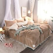 2021 Winter Brown White Pink Gray Girl Winter Terry Cloth Bedding Set