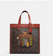 Coach Field Tote In Signature Canvas With Big Apple Skyline Nwt Sold Out