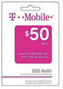 T-mobile Prepaid 50 Refill Top-up Prepaid Card Air Time Pin / Recharge