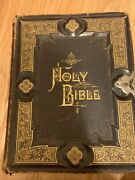 Antique Holy Bible 1882 Hubbard Brothers Philadelphia Illustrated Gilt Leather