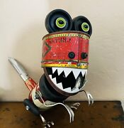 Dinnosaur Sculpture Assemblage Old Baking Powder And Candy Tins. Found Object Art