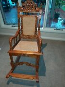 Antique Vintage Solid Timber Rocking Chair In Excellent Condition