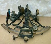 Heath And Co Brass Hezzanith Sextant 1928 In Mahogany Wood Case W/ Attachments