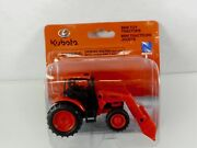New Ray Kubota M5-111 Pull Back Farm Tractor With Bucket Loader 148 Scale