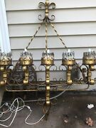 Antique Spanish Revival Wrought Iron Gothic 5 Light Candle Scone Xl Candelabra