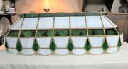 Vintage Leaded Stained Glass Billiard Table Hanging Light 38