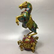 8.6 Chinese Bronze Galloping Horse Treading On A Flying Swallow Statues
