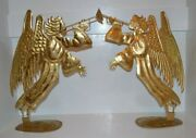 Gold Leaf Metal Angels 18 Tall With Stand Christmas Decorations