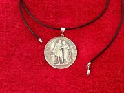 Sterling Silver Marriage Petit Vintage Medal Coin Watch Fob Pendant 20 Necklace