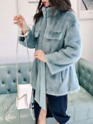 Womenand039s Full Mink Stand-up Collar Mid-length Slim And Thin Fur Coat Winter 2020