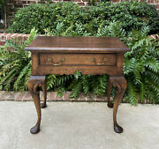 Antique English Table Nightstand Small Desk With Drawer Georgian Style Pad Feet